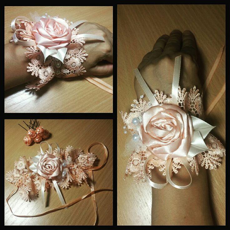 """Браслет и шпильки для подружки невесты на """"персиковую"""" свадьбу"""