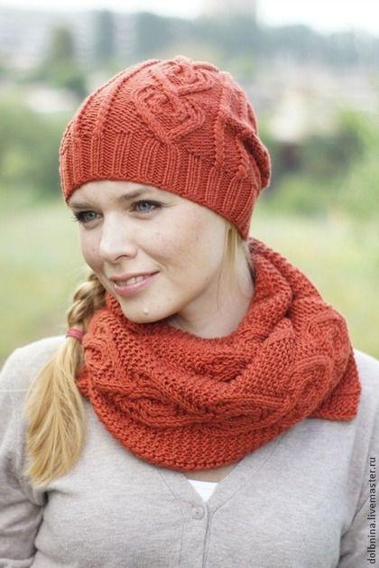 Вязаный комплект Terracotta шапка и шарф - ярко-красный,однотонный,медный