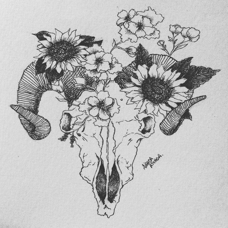 #ink #tattoo #skull #animal #flowers #idea Sun flowers, skull, tattoo. Original tattoo design by @Ainnhoa97