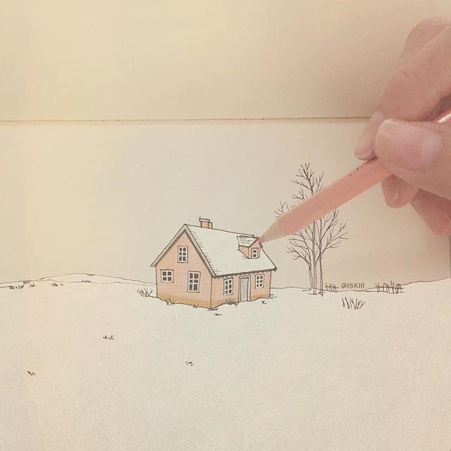 snow on paper ☃️ ❑ art by https://www.instagram.com/iskiii/