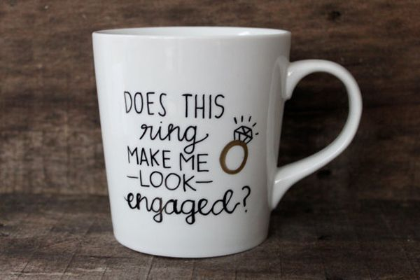 Adorable mug from etsy; the perfect gift for a newly engaged friend!