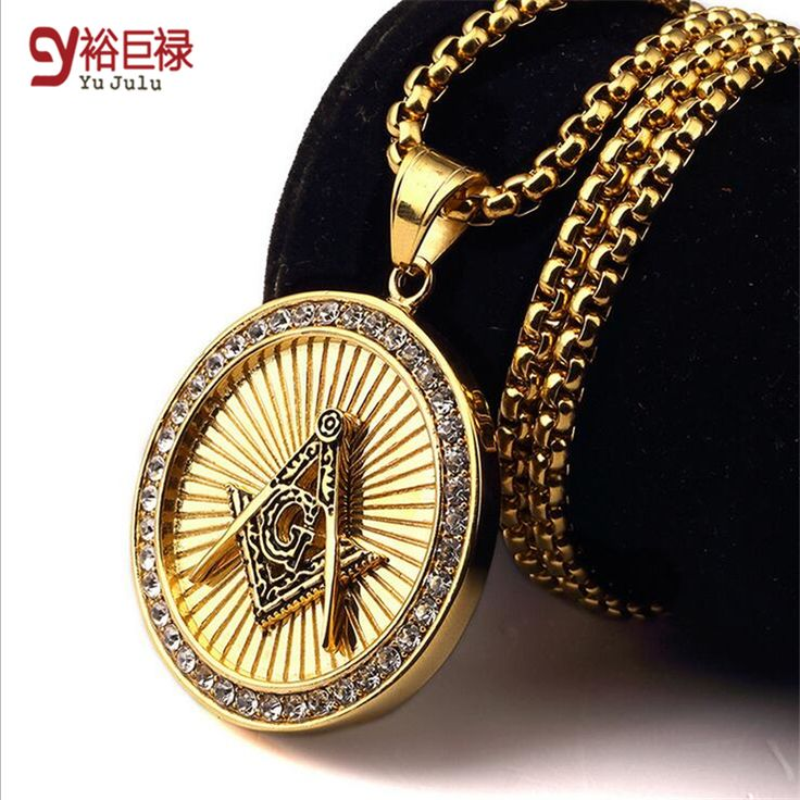 New Arrival Iced Out Gold Freemason Masonic Compass G Round Pendant Free-Mason Freemasonry Hip Hop Necklace For Men/Women