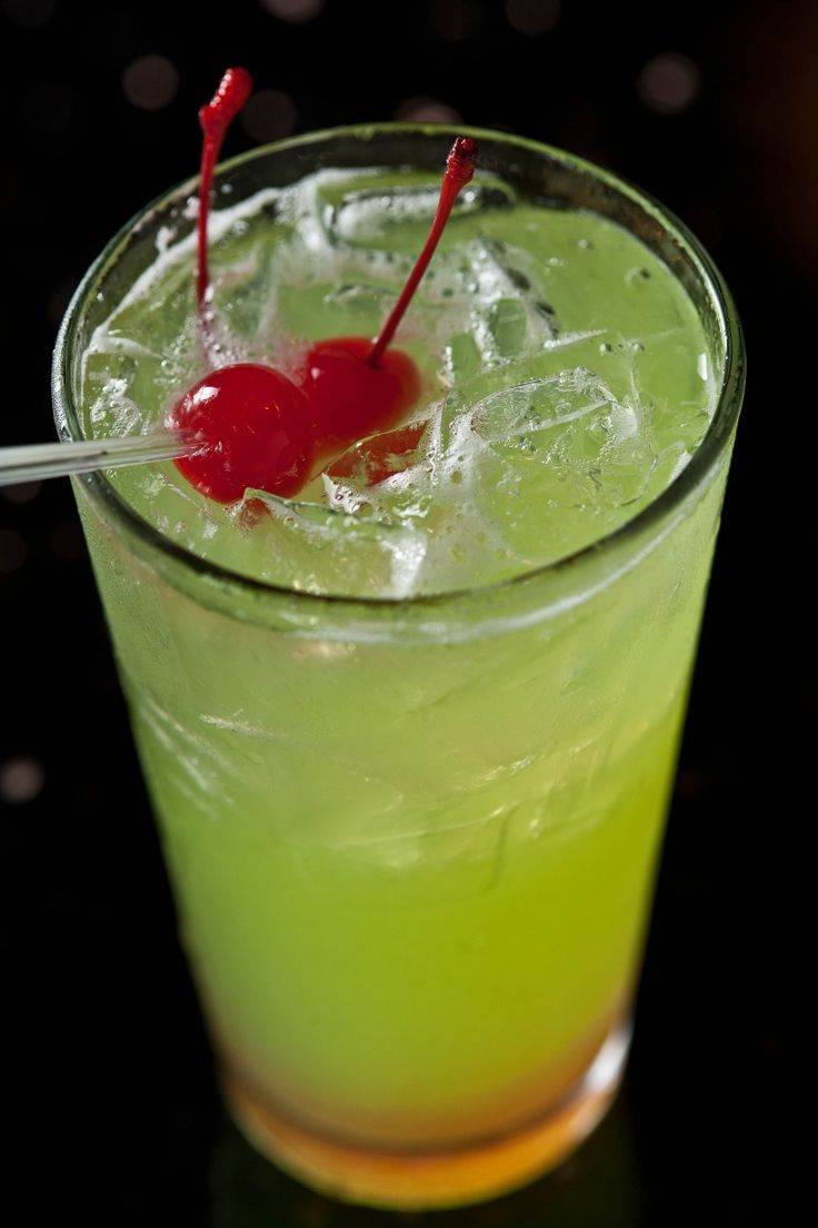 Green Giant: 1 oz watermelon vodka, 1 oz cherry vodka, 1 oz melon liqueur, 2 oz pineapple juice, citrus soda. Fill high ball glass with ice pour everything in glass finish filling glass with citrus soda. Stir and enjoy!