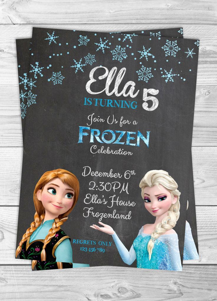 printable horse birthday party invitations free%0A Frozen chalkboard birthday party invitation