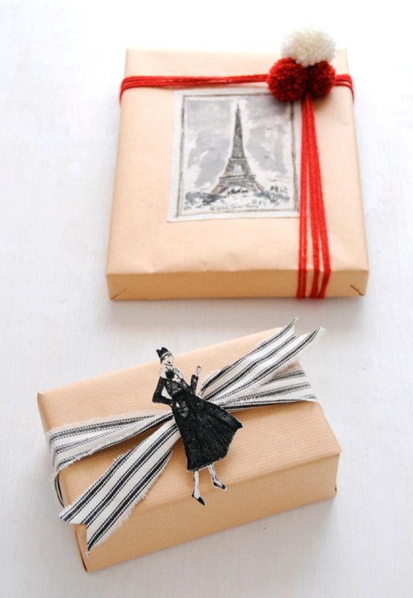 DIY fabric gift wrap Cozy Parisian Holiday