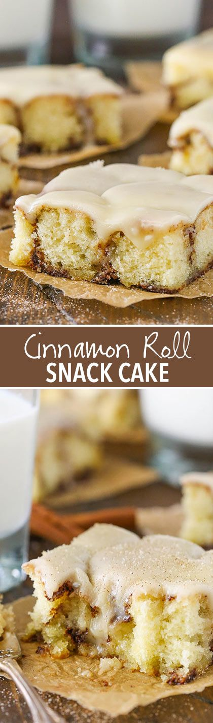 Cinnamon Roll Snack Cake - with a cinnamon sugar swirl and tasty icing! Great for breakfast or dessert!