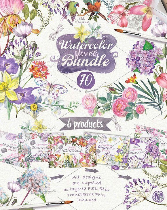70 summer flowers {95%OFF} by Mikibith on @creativemarket