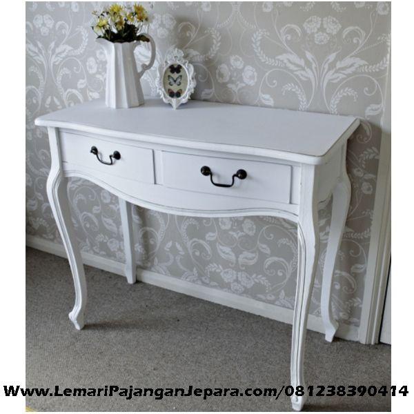 Jual Meja Konsul Laci Cat Putih Duco merupakan Produk Jepara dengan desain Meja Rung Tamu untuk tempat Vas Bunga telephone, di toko Lemari Pajangan Jepara