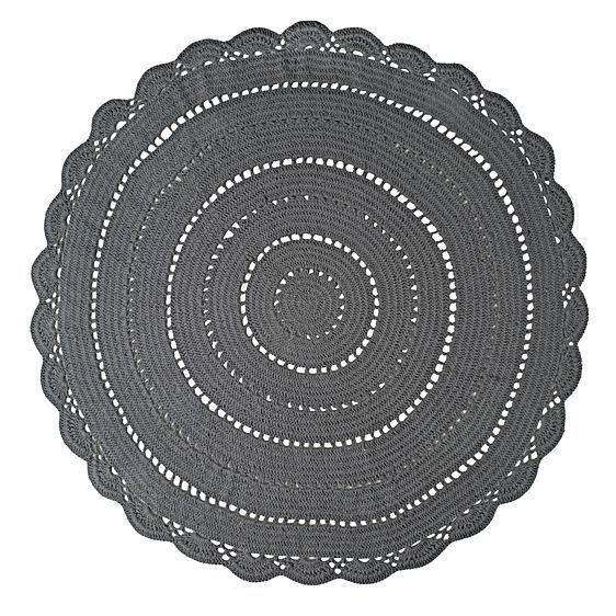 Crochet Round Rug, Grey by Urban Nest Designs