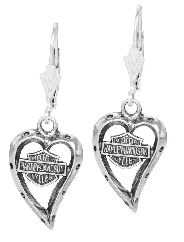 harley davidson jewelry for women | Harley-Davidson Women's Bar & Shield Heart Earrings