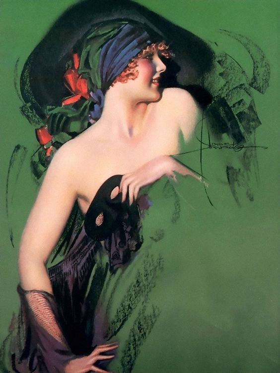 Rolf Armstrong [1889-1960] was born in Bay City, Michigan to Richard and Harriet (Scott) Armstrong. Armstrong's work for the Pictorial Review was largely responsible for that magazine achieving a circulation of more than two million by 1926. A year later, he was the best selling calendar artist at Brown and Bigelow.