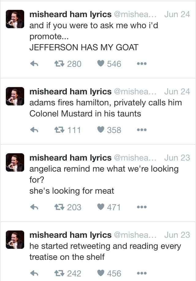 Misheard Hamilton lyrics = even better when you know Jefferson owned a man killing sheep