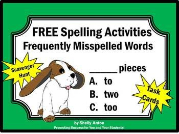 FREE!! Spelling Activities for Frequently Misspelled Words: These spelling task cards are a great alternative to worksheets! You will receive 6 spelling task cards focusing on frequently misspelled words. A student response form is provided along with an answer key.