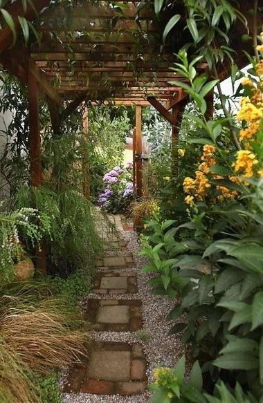 Pathway's concrete block+brick steps with water catching surround gravel, path covering pergola & lush vegetation details: