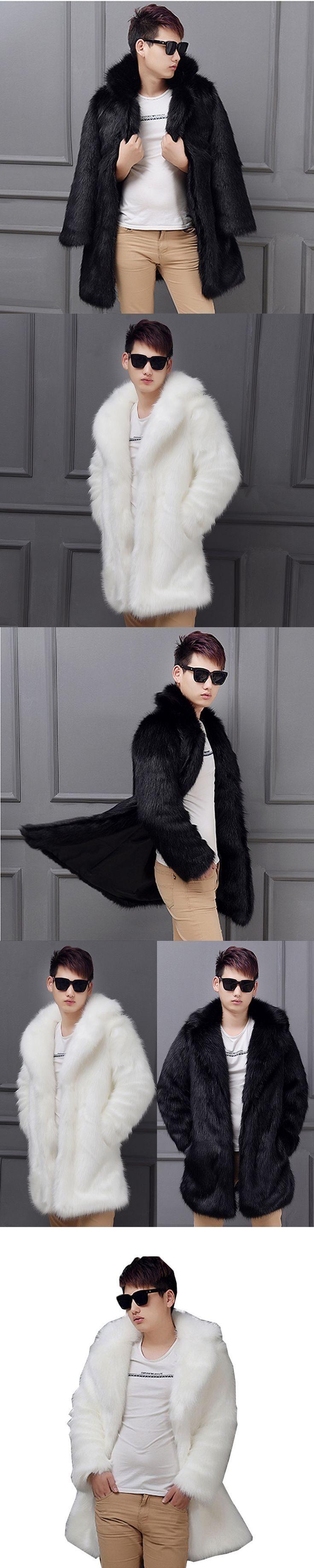 Mens Fur Coat Black and White Long Sleeve Winter Men Fur Coat Faux Fur Solid Slim Fox Fur Jacket Men Casual Coats Size S-6XL
