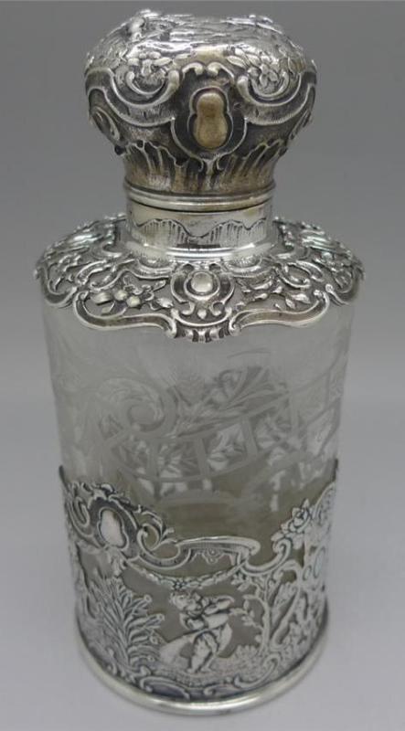 German RARE Hanau Silver Glass Tall Perfume Scent Bottle No Reserve Must See | eBay