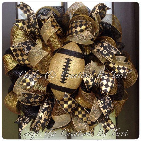 New Orleans Saints Black & Gold Football by CreatedByTerri on Etsy, $80.00