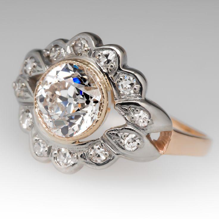 Simple  us Floral Motif Antique Engagement Ring