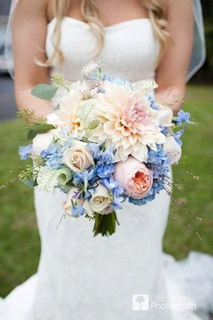 Best 25 blue wedding flowers ideas on pinterest blue bouquet blue and blush bouquet hydrangeas roses in light blush garden roses delphinium a bit more structured by marcella junglespirit Choice Image