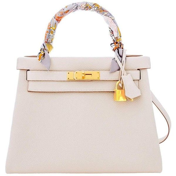 Pre-owned Hermes Craie 28cm Chalk Togo Kelly Gold GHW Shoulder Bag... ($24,500) ❤ liked on Polyvore featuring bags, handbags, handbags and purses, hermes kelly bags, top handle bags, top handle handbags, cocktail purse, pink purse, gold handbag and gold purse