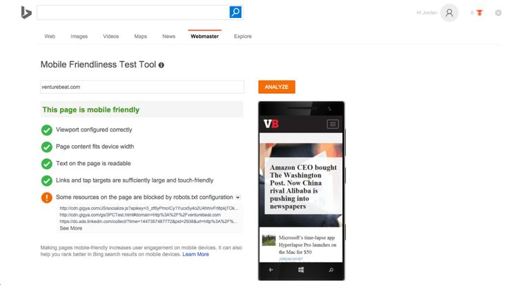 Is your website mobile-friendly based on the Microsoft Bing search engine's standards? Check out @ https://www.bing.com/webmaster/tools/mobile-friendliness