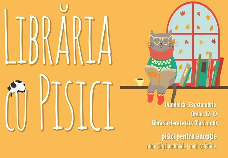 Pe 18 octombrie va avea loc Libraria cu pisici!