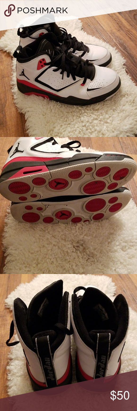Men's Jordans Flight Jordans. White with red and black trim Jordan Shoes Sneakers