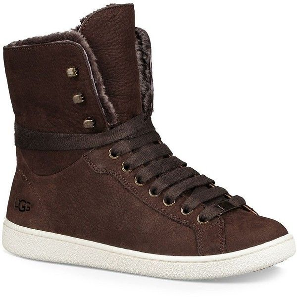 UGG Women's Cakewalk Fur Leather Sneakers ($150) ❤ liked on Polyvore featuring shoes, sneakers, chocolate, structure shoes, chocolate shoes, lacing sneakers, ugg and ugg sneakers