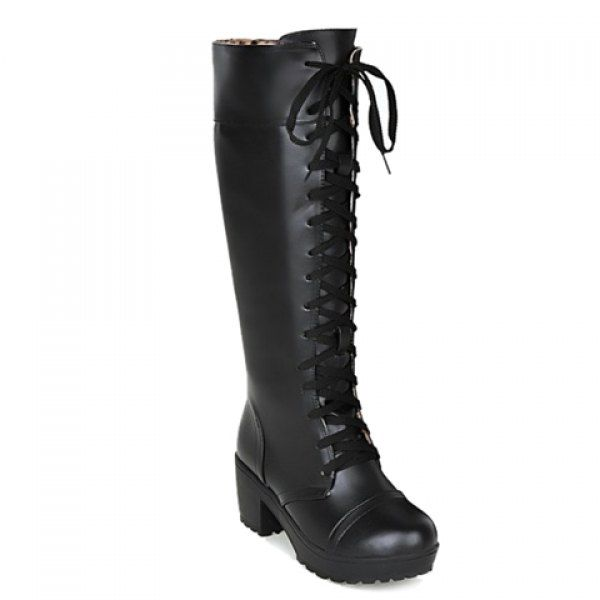 Laconic Lace-Up and Chunky Heel Design Women's Mid-Calf Boots #women, #men, #hats, #watches, #belts, #fashion, #style