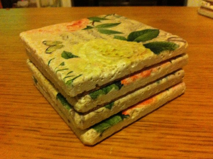 More hand made coasters made with stone tiles, mod podge, napkins and cork for the base