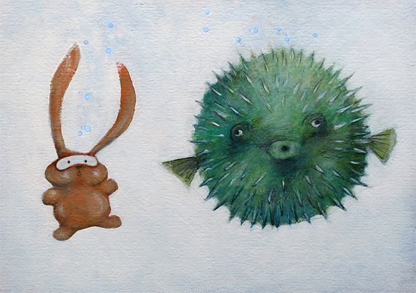 """PUFFERFISH"" illustration by Sarah Khoury. From the book ""Ciacio e il mare"" (Ciacio and the sea), 2011"
