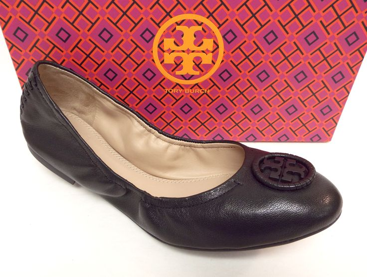 TORY BURCH ALLIE Black Leather Ballet Flat 8.5