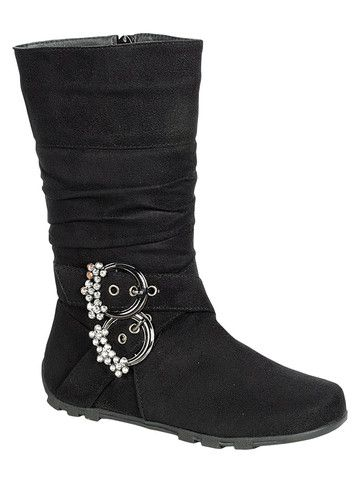 QQ Girl Bella Rhinestone Buckle Boot in Black