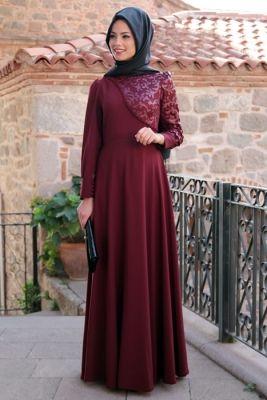 Mevra Bordo Gül Desenli Deri Elbise