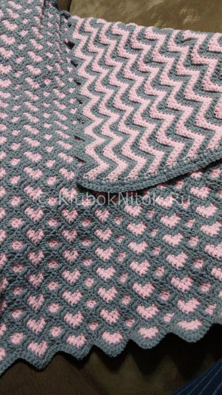 Плед «Зигзагообразные сердца» | Вязание крючком | Вязание спицами и крючком. Схемы вязания.