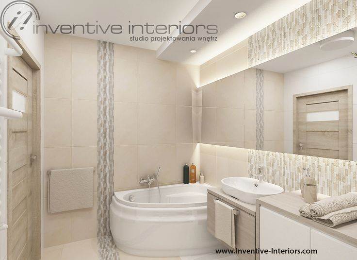 Projekt łazienki Inventive Interiors - beżowa łazienka z wanną narożną