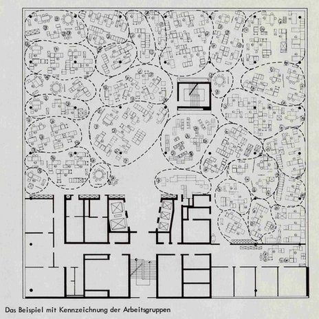 archidose:  Quickborner's plan for Osram's Munich office, 1965