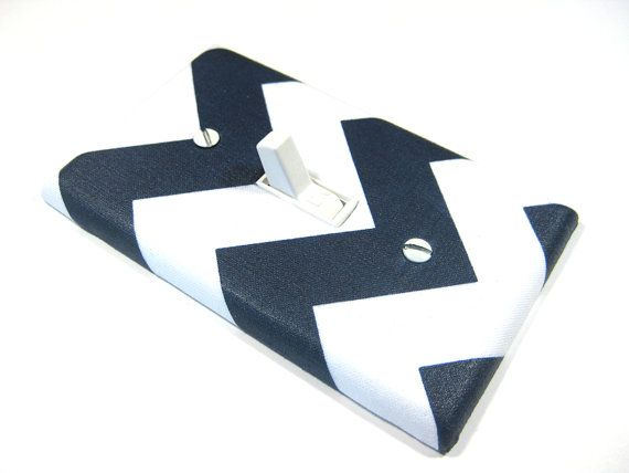 White and Navy Blue Chevron Light Switch Cover by ModernSwitch, $10.00