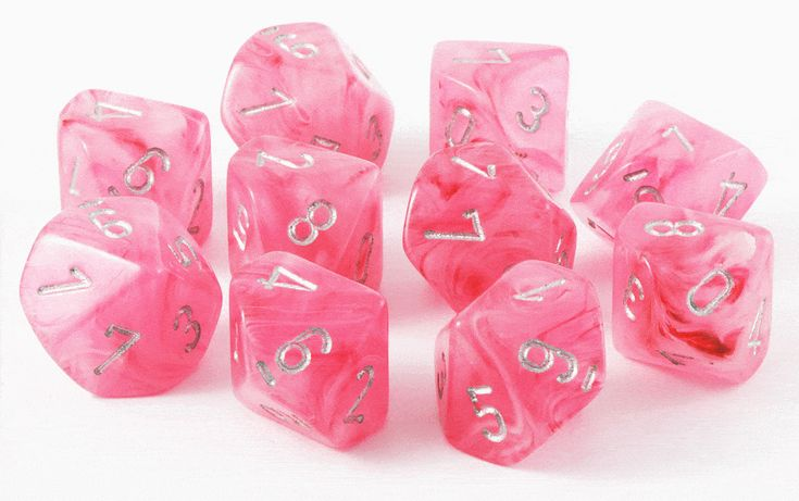 Ghostly Glow Dice (Pink); 10 X D10 Dice Set – Dark Elf Dice