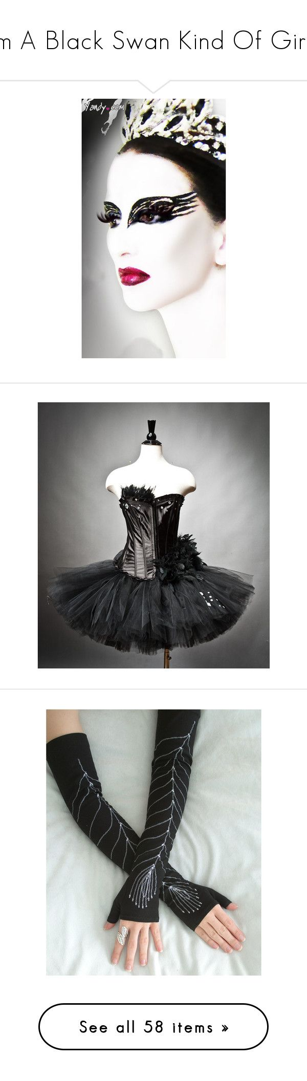 """""""Im A Black Swan Kind Of Girl;"""" by sarratori ❤ liked on Polyvore featuring backgrounds, costumes, dresses, dance, costume, vestidos, feather costume, hook costume, bride halloween costume and black swan costume"""