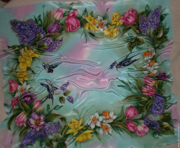 Купить Платок-Батик''Весенняя симфония'' - цветочный, сирень, тюльпаны, нарциссы, ласточки, платок, платок батик