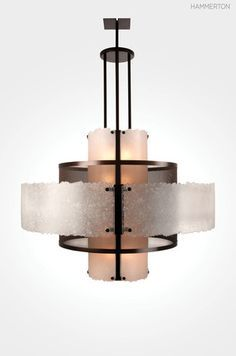 By juxtaposing visually engaging materials like fused crystal, woven mesh and textured kiln-fired glass, our most popular drum fixtures elevate interiors instead of simply blending into them. Shown here: Hammerton CHA2021 chandelier with alternating layers of crystal fused glass and authentic woven fine mesh in a Copper Leaf finish.