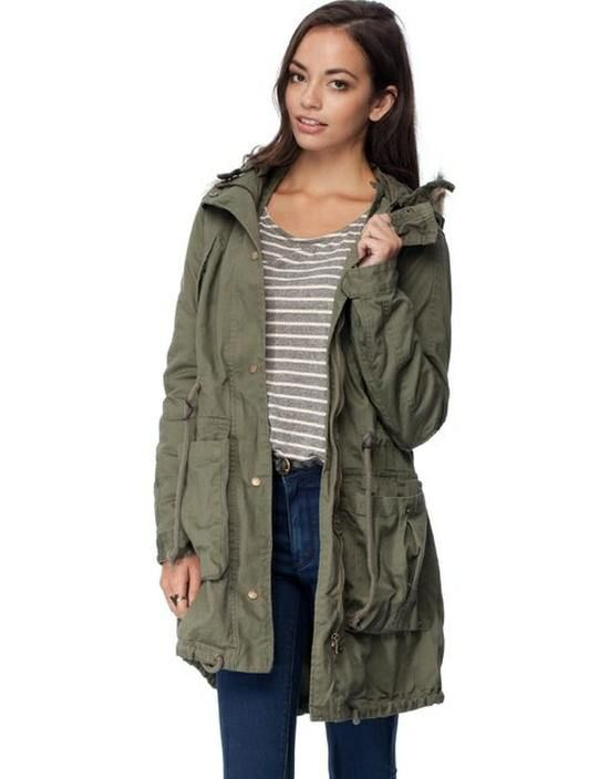 Womens Khaki Jagged Parka Jacket - Australia Online Clothing