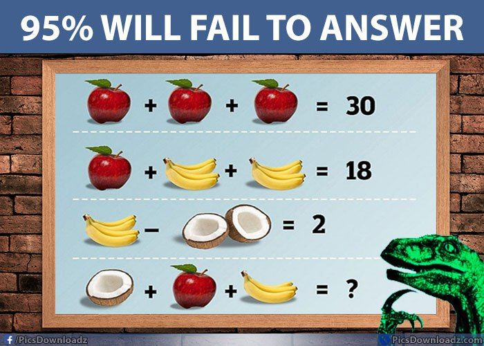 Not that easy as you think! Apple, Banana & Coconut Puzzle - Fruit Brain teaser Puzzles - http://picsdownloadz.com/puzzles/apple-banana-coconut-fruit-brain-teaser-puzzles/