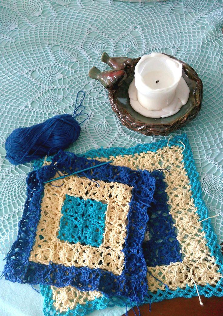 crochet lacy cushions in progress