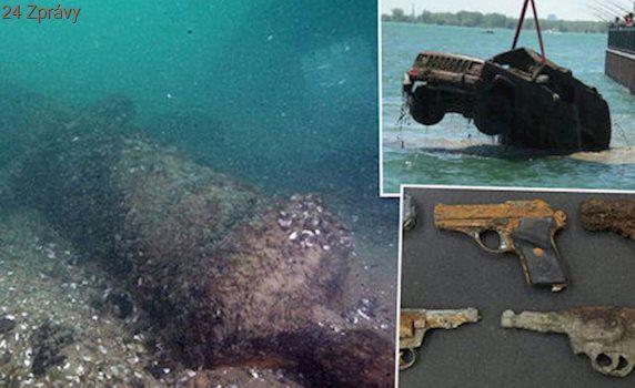 Kanóny, zbraně i auta: Na dně řeky v Detroitu jsou i poklady z války o nezávislost