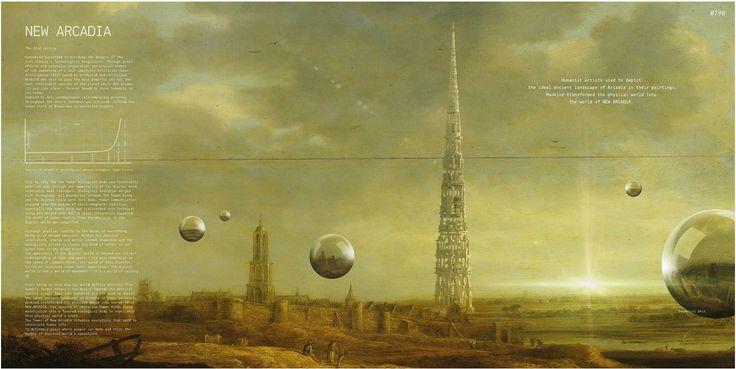 "eVolo 2016 Honorable Mention Project by: Joseph Konrad Kosmas Schneider, Vincent Johann Moller  GERMANY ""Tower Of New Arcadia"""