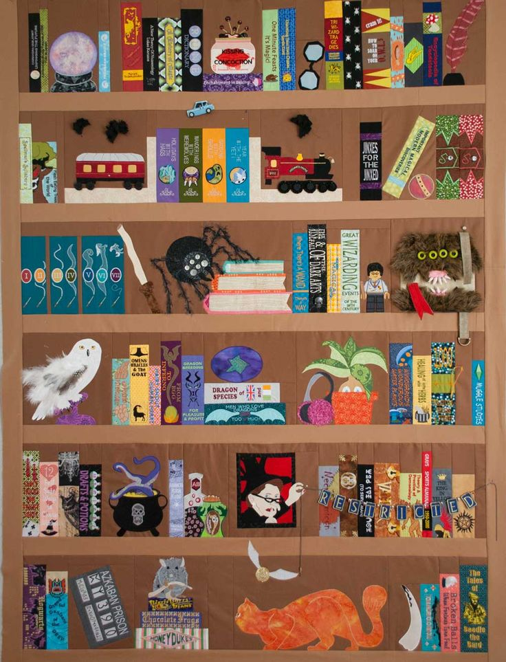 Harry Potter Bookcase Quilt: Mid-project celebration!                                                                                                                                                                                 More