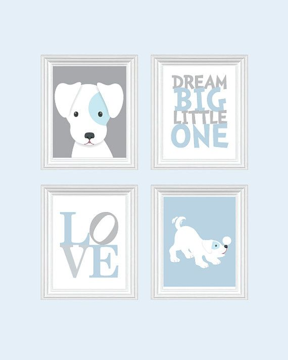 Dog Nursery Art Baby Boy Puppy Prints Blue Decor