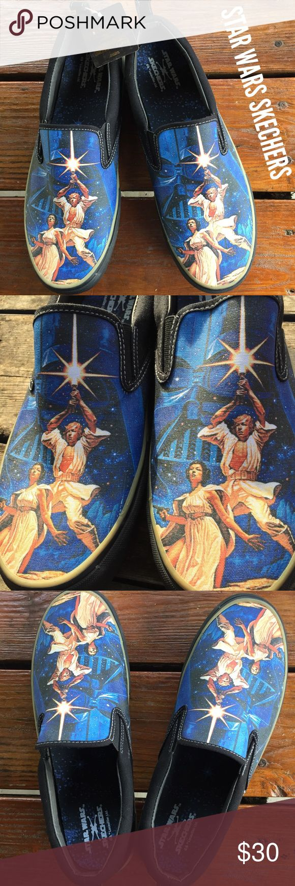 STAR WARS NWT Skechers Men's Slip on Shoes 11 New! New with Tags! Men's STAR WARS Skechers slip on memory foam shoes, canvas uppers. Movie poster, The Menace, a New Hope. Great find for the Star Wars fan! In perfect immaculate condition with black & gold Star Wars tag attached!  Men's size 11.  (#605) Skechers Shoes Loafers & Slip-Ons